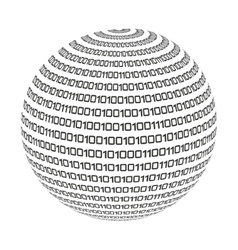Sphere circle binary code icon vector
