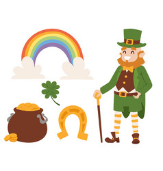 St patricks day icons and leprechaun vector