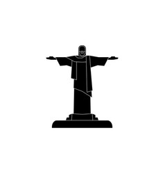 statue of christ the redeemer icon black on white vector image