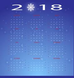 stylized snow winter 2018 calendar vector image
