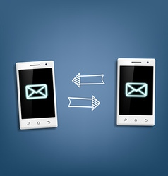 transmission of messages between phones vector image