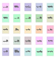 trucks set black icon on color sticker vector image