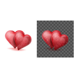 Two red crystal hearts joined or linked together vector