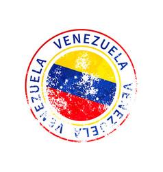 venezuela sign vintage grunge imprint with flag vector image
