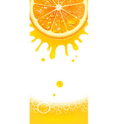 Vertical banner with juicy orange and splashes of vector