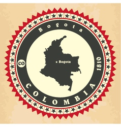 Vintage label-sticker cards of Colombia vector image