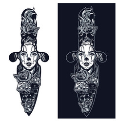 Vintage tattoo in dagger shape concept vector