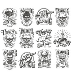 Vintage vaping labels monochrome set vector