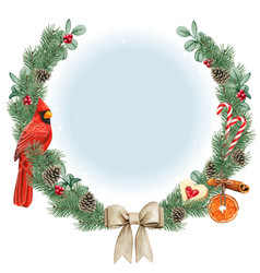 watercolor high quality christmas wreath with red vector image