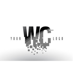 Wc w c pixel letter logo with digital shattered vector