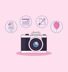 wedding celebration card with set icons vector image
