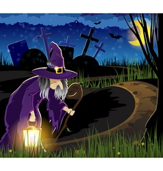 Witch goes to the cemetery vector image