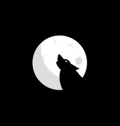 wolf moon logo design vector image