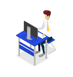 Young man work on desktop computer icon vector