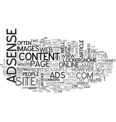 Adsense tips to explode your online profits text vector