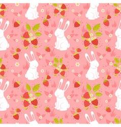 Cute rabbits seamless pattern vector image vector image
