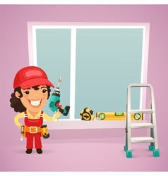 Female Worker Is Installing the Window vector image vector image