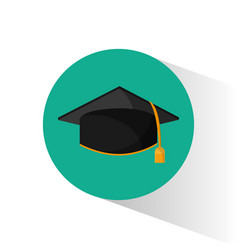 graduation cap education shadow vector image