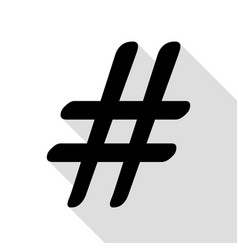 hashtag sign black icon with flat vector image