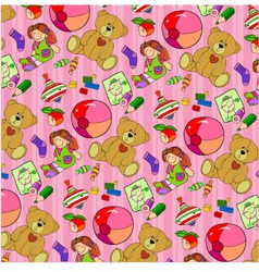 pattern of childrens toys for baby girls vector image vector image