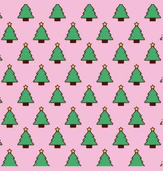 seamless pattern christmas tree pine star vector image