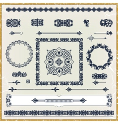 set of vintage floral pattern design elements vector image