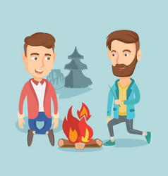 Two friends sitting around bonfire in camping vector