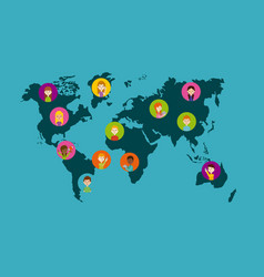 world map and people vector image