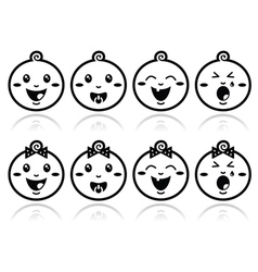 Baby boy baby girl face - crying with soother s vector image vector image