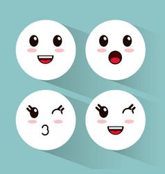 kawaii emoji faces collection vector image vector image