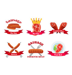 meat logos labels fresh meat in flat style vector image vector image