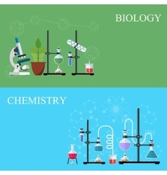 Biology and Chemistry laboratory workspace vector image vector image