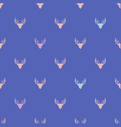 doodle hand drawn seamless patterns with deers vector image vector image