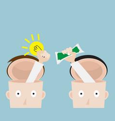 exchange bulb idea to money business concept vector image