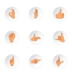 Gesture icons set cartoon style vector image vector image