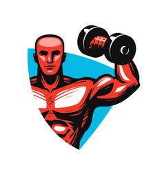 gym logo or label sport concept vector image vector image