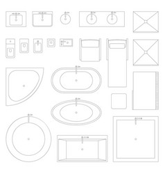 line interior icons for bathroom vector image vector image