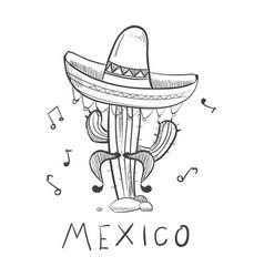mexico sketch cactus in sombrero - hand drawn vector image vector image