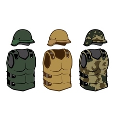 Military clothing protection vests camouflage body vector