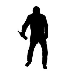 silhouette of drunk man vector image