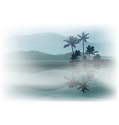 Background with sea and palm trees at night vector