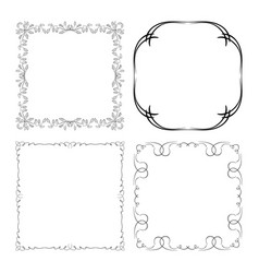 Decorative square frames with curved ornament vector