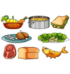 Different kinds of food and snack vector image vector image