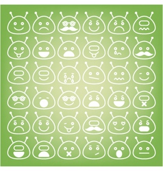 Emoticons space aliens different emotions icons vector image vector image