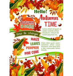 hello autumn banner of fall harvest celebration vector image