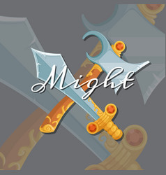 medieval crossed axe and sword vector image