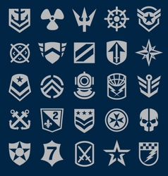 Military icons symbol set on navy vector