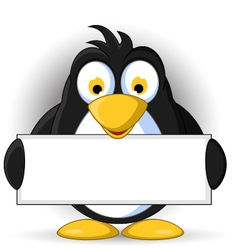 penguin cartoon with blank sign vector image