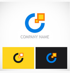 round letter c digital technology logo vector image