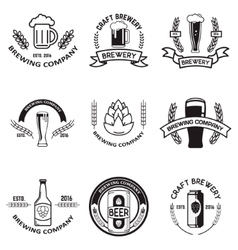 Set of beer labels in line style Design elements vector image vector image